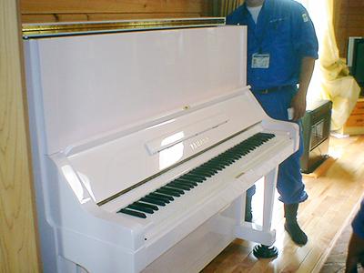 パールホワイトラメ入り塗装(鍵盤)